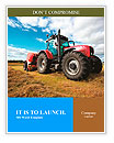 Huge tractor collecting haystack in the field in a nice blue sunny day Word Templates