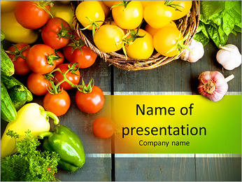 Abstract design background vegetables on a wooden background PowerPoint Template