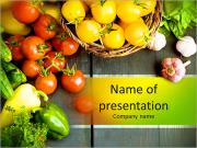 Abstract design background vegetables on a wooden background PowerPoint Templates