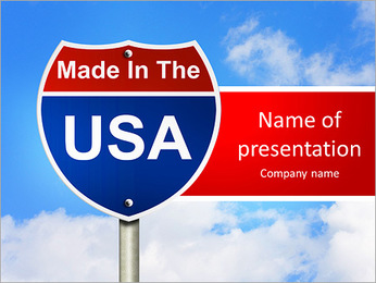 An American road sign with sky background and copy space for your message, Made In The USA PowerPoint Template