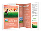 Child carrying a backpack standing on a green meadow with hot-air balloons in the background Brochure Templates