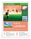 Child carrying a backpack standing on a green meadow with hot-air balloons in the background Flyer Template
