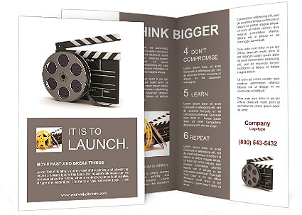 3d illustration of cinema clap and film reel over white background brochure template