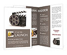 3d illustration of cinema clap and film reel, over white background Brochure Template