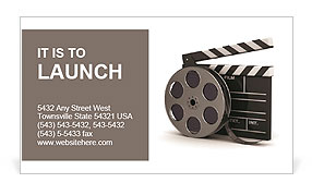 3d illustration of cinema clap and film reel, over white background Business Card Template