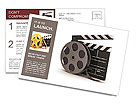 3d illustration of cinema clap and film reel, over white background Postcard Template