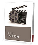 3d illustration of cinema clap and film reel, over white background Presentation Folder