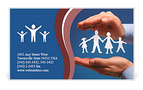Cutout paper chain family with the protection of cupped hands, concept for security and care Business Card Template