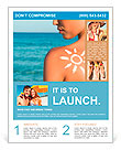 Woman With Suntan Lotion At The Beach In Form Of The Sun Flyer Template