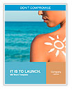 Woman With Suntan Lotion At The Beach In Form Of The Sun Word Templates