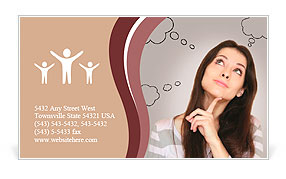 Thinking woman with many ideas in empty bubble on grey background looking up with finger at face Business Card Templates
