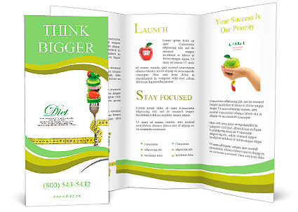 Fresh Mixed Vegetables On Fork With Measuring Tape Brochure Template