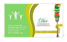 Fresh mixed vegetables on fork with measuring tape Business Card Template