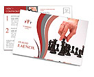 Business man moving chess figure Postcard Template
