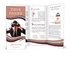Businessman using binoculars on a white background. Brochure Templates