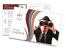 Businessman using binoculars on a white background. Postcard Template