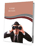 Businessman using binoculars on a white background. Presentation Folder