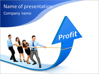 Portrait of business team pulling up bar using rope. growth profit chart concept PowerPoint Template