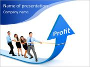 Portrait of business team pulling up bar using rope. growth profit chart concept PowerPoint Templates