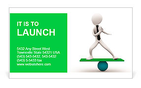 3d man balancing on sphere Business Card Template