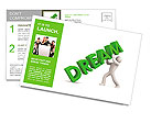 3d person and dream. Image contain clipping path Postcard Template