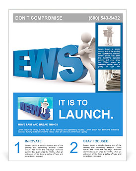 3d person read newspaper flyer template design id 0000009807