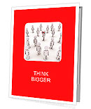 3d person with megaphone and others walking towards him Presentation Folder