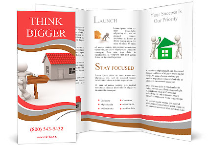 D People Man Person With A House And Arrow A Wooden - 3d brochure template