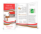 3d people - man, person with a house and arrow a wooden. Realestate Brochure Templates