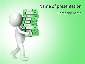 Alternatives. 3D little human character carrying a large green pile of Ring Binders. People series. PowerPoint Template