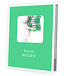 Alternatives. 3D little human character carrying a large green pile of Ring Binders. People series. Presentation Folder