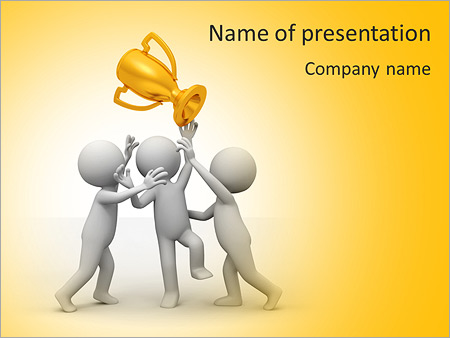 Trophy Three People Are Fighting For The Cup PowerPoint Template