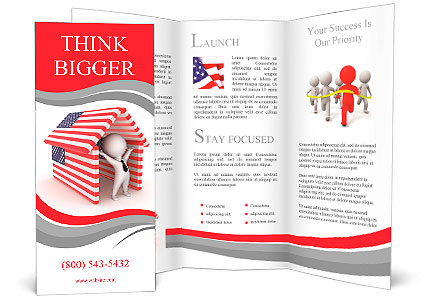 happy 3d small person under the roof made of american flagsisolated on white background brochure template