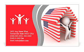 Happy 3d small person under the roof made of american flagsolated happy 3d small person under the roof made of american flagsolated on white background business card template reheart Image collections