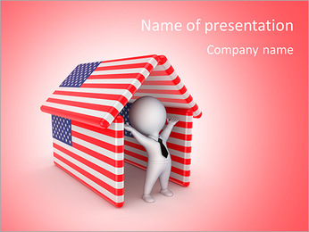 Happy 3d small person under the roof made of American flags.Isolated on white background. PowerPoint Template