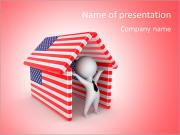 Happy 3d small person under the roof made of American flags.Isolated on white background. PowerPoint Templates