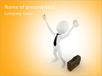 3d man success in business, on white background PowerPoint Template
