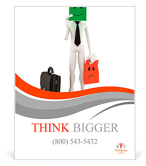 3d Man Success In Business On White Background Poster Template