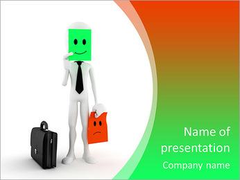 Homem 3d sucesso nos negócios, no fundo branco Modelos de apresentações PowerPoint