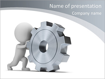 3d small person rolls a large gear. 3d image. Isolated white background. PowerPoint Template