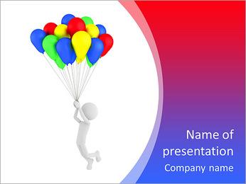 Pessoa 3d que prende balões coloridos e voar Modelos de apresentações PowerPoint
