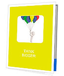 3d person holding colored balloons and flying Presentation Folder
