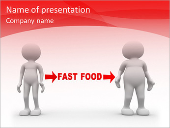 3d people - men , person weak and fat. Fast food PowerPoint Template