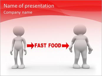 3d pessoas - homens, pessoa fraca e gordura. Fast-food Modelos de apresentações PowerPoint