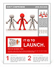 3d people - men, person together. Team and leadership Flyer Template
