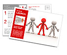 3d people - men, person together. Team and leadership Postcard Template