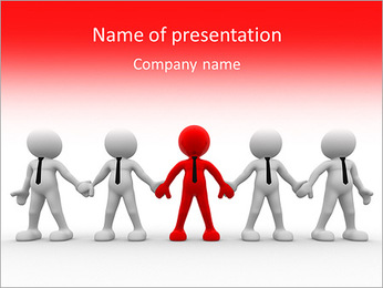 3d people - men, person together. Team and leadership PowerPoint Template