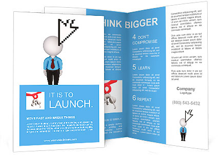 small brochure template - cursor and small person isolated on white