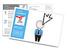 Cursor and small person.Isolated on white background.3d rendered. Postcard Template