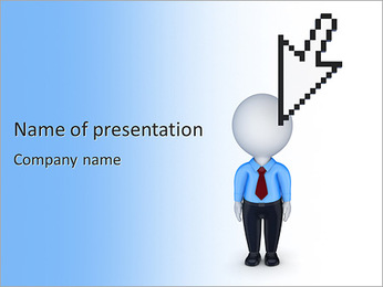 Cursor and small person.Isolated on white background.3d rendered. PowerPoint Template